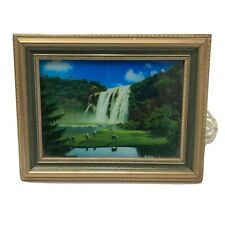 Vintage Framed Light Up Motion Waterfall with Horses With Water Bird Sounds