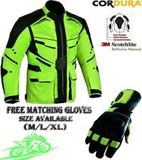 FULL HiViz MENS CE WINTER MOTORBIKE / MOTORCYCLE TEXTILE JACKET / COAT & GLOVES
