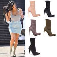 Ladies Women Ankle Boots Pointy Stiletto High Heel Party Fashion Shoes Size 3- 8