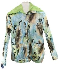 Womens Ladies Green Multi-Color Reversible Zip Front Jacket Size Large