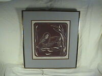 Debby Neely Woodcut, Goose In Cattails, Print Limited Edition 5/40 1985