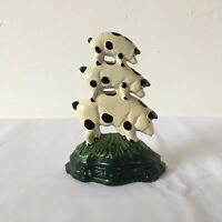 Small Vintage Three Pigs Painted Cast Iron Door Stop