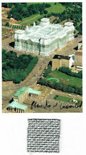 Christo wrapped reichstag 17 x 12,7 cm hand signed stoff 4 x 4 cm