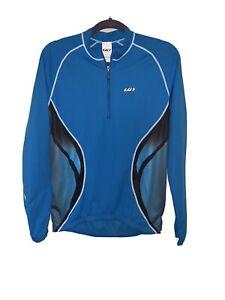 Louis Garneau Long Sleeve Cycling Jersey Full Zip Blue/Black/White Size M