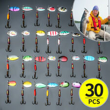 Lot 30PCS Colorful Fishing Lures Spinner Trout Spoon Baits Crankbait Hook  ~