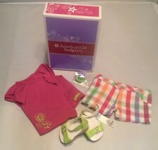 New American Girl Sunshine Garden short set outfit with shoes & hair tie Lot