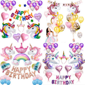 Happy Birthday Decorations Set Cute Unicorn Theme Party Supplies Pretty Balloons