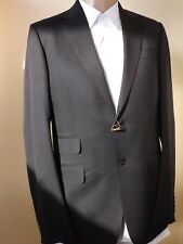 NWT GUCCI BLACK WOOL STRETCH TWO BUTTON SUIT EUR 48 R / US 38 #221536 ITALY