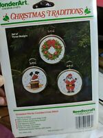 WonderArt Christmas Traditions Ornament Trio Counted Cross Stitch Kit 5546 NEW