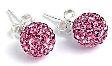 Shamballa Stud Earrings Silver With Multi-Colour Crystals UK Seller