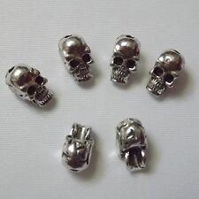 30pcs Antique Silver Charms Skull Beads 10*5mm Fit Bracelet