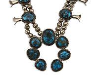 Navajo Squash Blossom Necklace .925 Silver Morenci Turquoise Native Artist C.80s