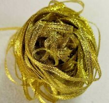 Craft Ribbon - 10m Polyester Double Sided Satin Narrow Ribbon - Gold Sparkle
