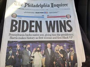 THE PHILADELPHIA INQUIRER BIDEN WINS 11/8/20 JOE BIDEN ELECTED PRESIDENT