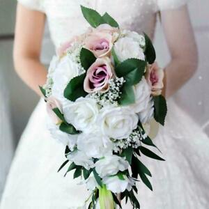 Wedding Bride Bouquet Hand Tied Flower Decor Holiday Supply Realistic Bouquet