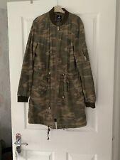 Ladies Size 8 Military Jacket Khaki Army Print Longline