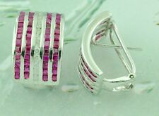 14k Solid White gold Natural Diamond Princess cut Ruby Earring omega back 3.24ct