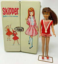 1963 SKIPPER Doll Barbie's Little Sister Brunette W/ Outfits & Carry Case 2282D