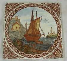 ancien grand carreau faience bateau mer minton tile  sea boat