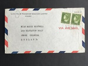 CURACAO 1948 AIR MAIL ADVERT COVER TO ENGLAND Ex. LAGO OIL & TRANSPORT Co.