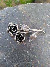 Antike Brosche plastische Rose Silber 925  HANDARBEIT