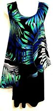 plus sz  S/ 16  Virtu TAKING SHAPE Leaf Print Overlay Dress Stretch NWT! rrp$120