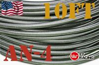 """1/4"""" AN4 Stainless Steel Braided Fuel Oil Gas Line Hose -4AN 10FT New"""