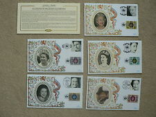 2002 Benham Silk Covers x 5: Accession Golden Jubilee + Silver Jubilee Stamps