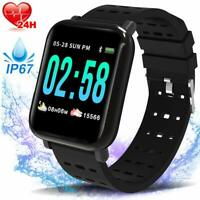 Fitness Smart Watch Tracker with Heart Rate Blood Pressure Sleep Monitor IP67