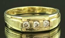 A CLASSIC MEN'S 14K SOLID YELLOW GOLD & .30 CARAT THREE STONE DIAMOND RING L@@K!