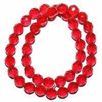 """CZ527f Light Red 10mm Fire-Polished Faceted Round Czech Glass Beads 16"""""""