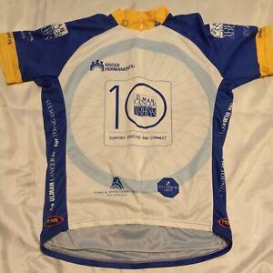 Primal Wear Cycling Jersey Top Short Sleeve Shirt Blue, White, Yellow Sz XLarge