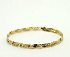 Sterling Silver Gold Vermeil Woven Braided Herringbone Chain Bracelet Milor 925