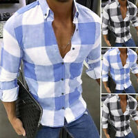 Men Vintage Check Printed Blouse Casual Tops Long Sleeve Baggy Holiday Shirt Top