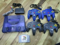 Nintendo 64 Console Midnight Blue w/4controller Cable Smash Bros. N64 P922