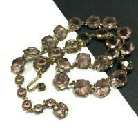 Rare Antique Vintage ART DECO Pink Crystal Bezel Set Necklace Gold Tone QQ53o
