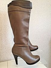 Topshop Leather Knee Length Boots Size 7 Eu 40 Tan Brown (E1608/6)