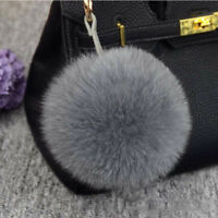 New Real Large Fox Fur PomPom Ball Car Handbag Keychain Key Ring Fashion Gift