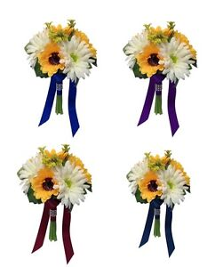 """Artificial Daisy and Yellow Sunflower Wedding Bouquet (7.5"""") - Pick Ribbon Color"""