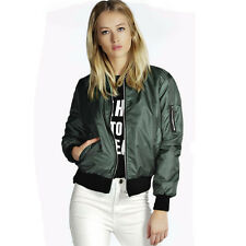 Women's Fashion Classic Bomber Jacket Coat Clothes Outwear Zip Up Windbreaker