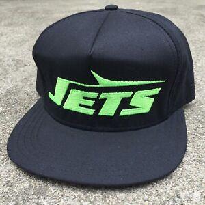 New! 90s NFL Snapback Hat New York Jets Script Black Vintage AJD Neon Green