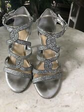 Gianni Bini Ladies Strappy Silver Rhinestone BLING! Heels size 5 1/2