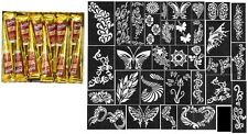 10 Golecha mahroon henna color Quick Dry tatoo cone Body Art+32 stencil set free