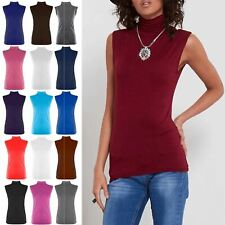 Womens Polo Turtle High Neck Ladies Sleeveless Plain Bodycon Vest T Shirt Top