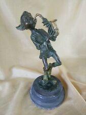 Bronze Elf Sculpture Playing Saxophone