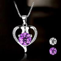 Jewelry Rhinestone Silver Plated Heart Shaped Necklace Pendant Crystal