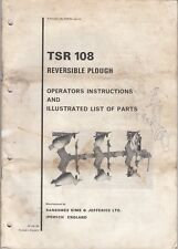 Ransomes, Sims & Jefferies TSR 108 Reversible Plough Operating & Parts list