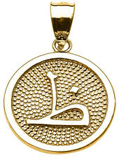 """Yellow Gold Arabic Letter """" thaa """" Z Initial Charm Pendant"""