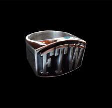 Stainless FTW Letter Biker Ring Blk Enamel Custom Sized Fly The Wind TL-001ss