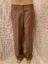 Brunello Cucinelli wool cashmere tan brown creased tailored trousers size 38